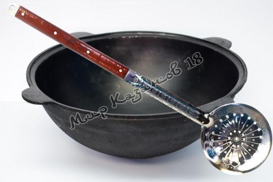 Узбекский чугунный казан круглое дно 50 л.+шумовка