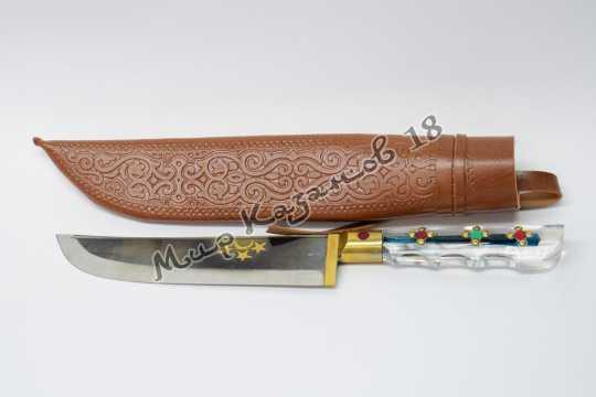 Пчак средний, рукоять Оргстекло, гарда латунь, сталь ШХ 15