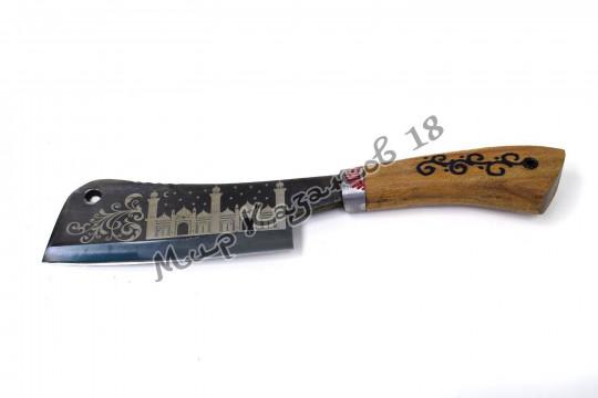Топорик для мяса, рукоять Дерево, травление на лезвии, сталь ШХ 15