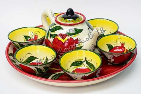 Чайный набор Риштанской керамической посуды Гранат