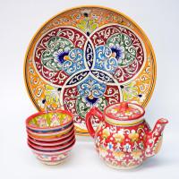 Чайный набор Риштанской керамической посуды Qora galam
