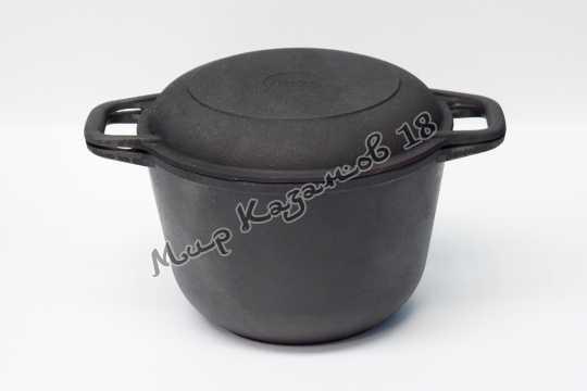 Кастрюля чугунная 3 л крышка-сковорода