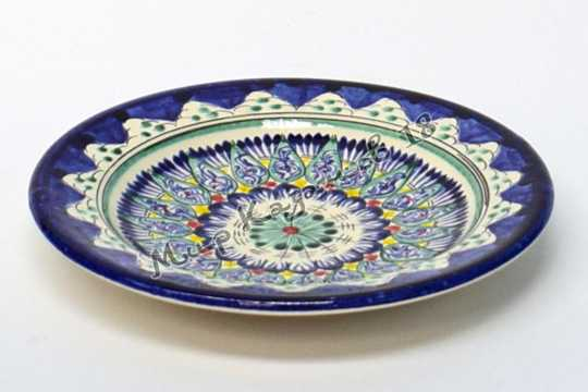 Тарелка керамическая 17 см Синяя