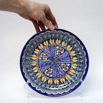 Тарелка керамическая глубокая 25 см Синяя