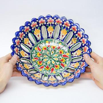 Фруктовница керамическая 28 см Синяя