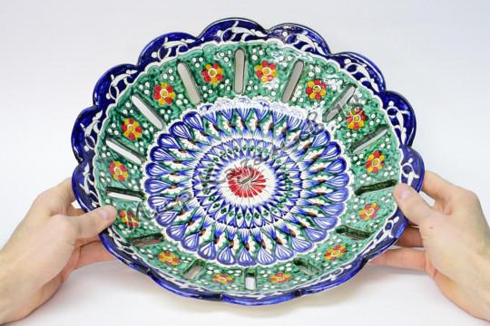 Фруктовница керамическая 32 см Синяя