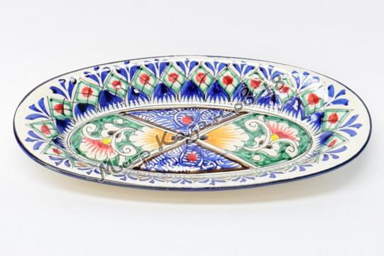 Салатник керамический лодочка 24 см Синий
