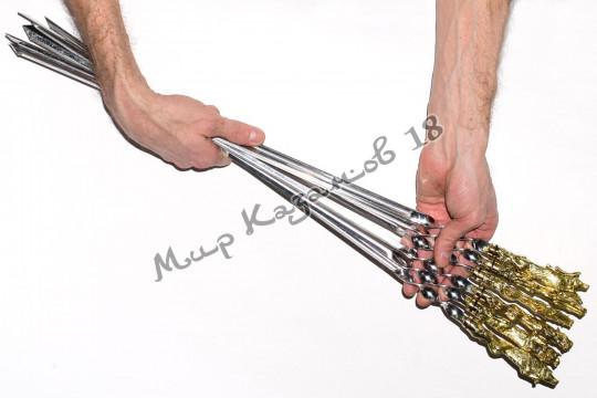 Подарочный набор угловых шампуров (Звери) 6 шт 40 см