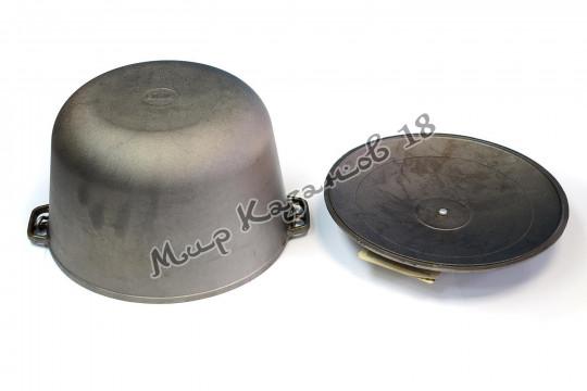 Казан чугунный (котелок) 10 л с чугунной крышкой, BIOL