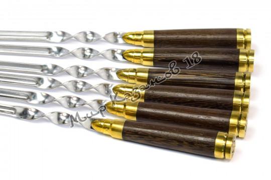 Подарочный набор угловых шампуров (Патроны) 6 шт 45 см