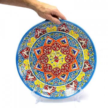 Ляган керамический 38 см Оригинальный, цвет голубой