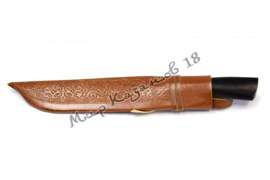 Пчак большой Шеф-нож, рукоять граб пуговица, гарда олово, сталь У8