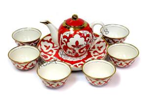 Чайный набор фарфора Пахта красная