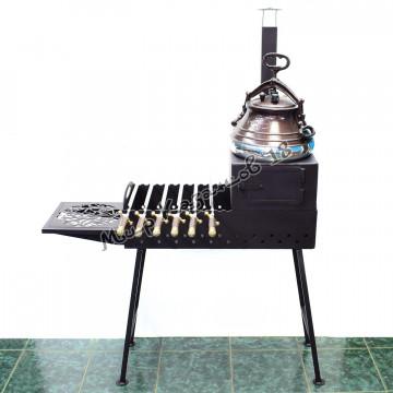 Печь с трубой и решеткой для мангала шириной 30 см, сталь 4 мм