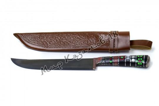 Пчак средний, рукоять Текстолит с садафом, гарда и навершие олово, сталь ШХ 15