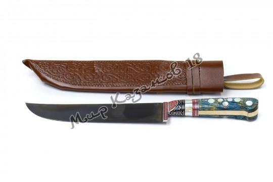 Пчак средний, рукоять стаб. карельская береза, гарда олово, сталь ШХ 15