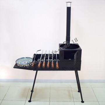 Мангал 70х35см разборный (печь с трубой, 1 столик, ножки), сталь 4мм