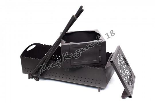 Мангал 70х35см разборный (печь без трубы, 1 столик, ножки), сталь 4мм