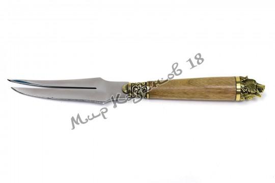 Подарочная вилка-нож Орех с головой зверя
