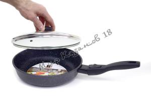Сковорода глубокая 24 см ГРАНИТ МЕЧТА, стекл. кр., съемная ручка