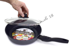 Сковорода глубокая 26 см ГРАНИТ МЕЧТА, стекл. кр., съемная ручка