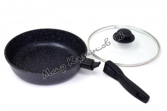 Сковорода глубокая 28 см ГРАНИТ МЕЧТА, стекл. кр., съемная ручка