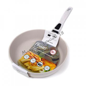 Сковорода глубокая 26 см ГРАНИТ, цвет крем, без кр., съемная ручка