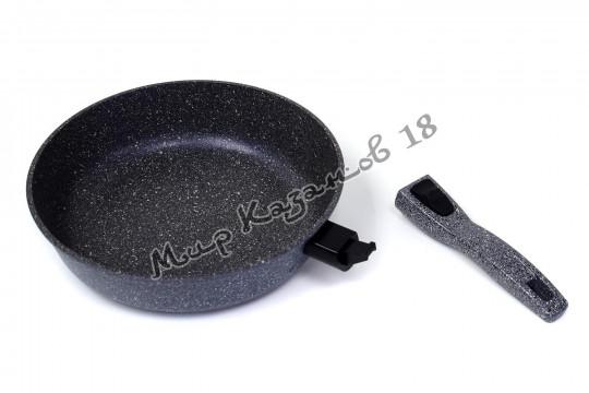 Сковорода глубокая 28 см МРАМОР, без кр., съемная ручка