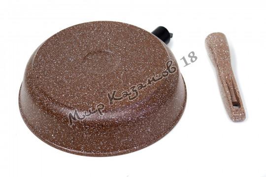Сковорода глубокая 24 см ГРАНИТ, цвет корич, без кр., съемная ручка