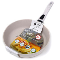 Сковорода глубокая 28 см ГРАНИТ, цвет крем, без кр., съемная ручка