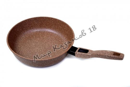 Сковорода глубокая 26 см ГРАНИТ, цвет корич, без кр., съемная ручка