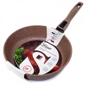 Сковорода глубокая 28 см ГРАНИТ, цвет корич, без кр., съемная ручка