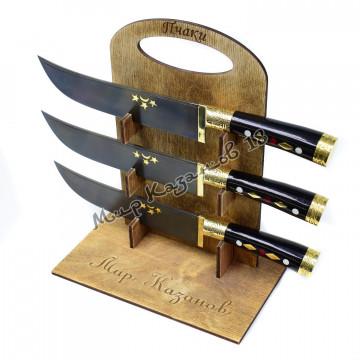 Пчак средний, рукоять Эбонит, гарда и навершие латунь, сталь ШХ 15