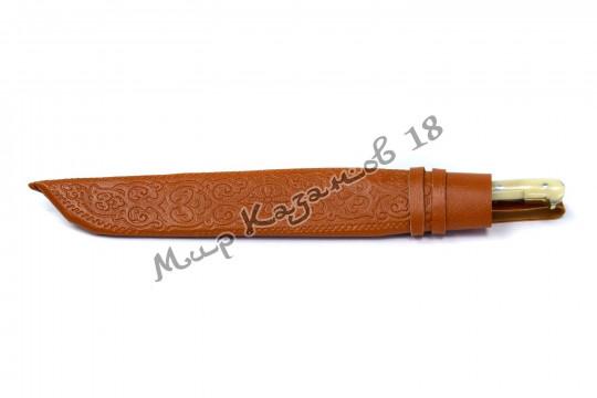 Корд средний, рукоять Кость и латунь, гарда олово, сталь ШХ 15