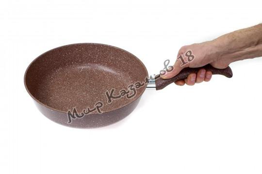 Сковорода 26 см ГРАНИТ ИНДУКЦИЯ, цвет корич., без кр., ручка н/съём.