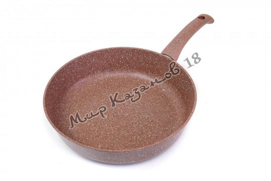 Сковорода 28 см ГРАНИТ ИНДУКЦИЯ, цвет корич., без кр., ручка н/съём.