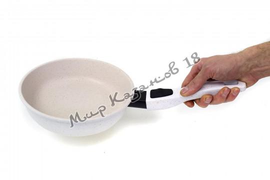 Сковорода глубокая 20 см ГРАНИТ, цвет крем, без кр., съемная ручка