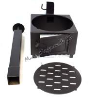 Печь с трубой и решеткой для мангала шириной 35 см, сталь 4 мм