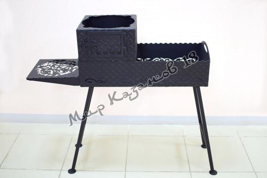 Печь без трубы для мангала шириной 35 см, сталь 4 мм
