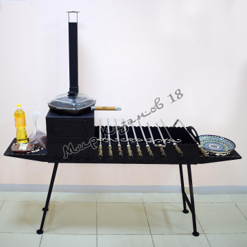 Мангал 100х35см разборный (печь с трубой, 2 столика, ножки), сталь 4мм