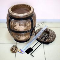 Тандыр средний Утка (дрова)+подарки (лопатка, кочерга, шампуры, подставка)