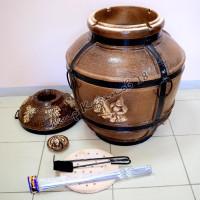 Тандыр Богатырь (дрова)+подарки (лопатка, кочерга, шампуры, подставка)