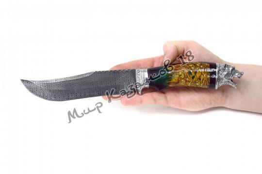 Нож с головой зверя, рукоять дерево и эпоксидка, гарда олово, сталь ШХ 15