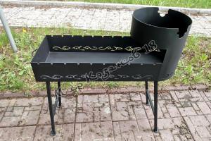 Мангал 90х36 с подказанником, сталь 3 мм, съемные ножки