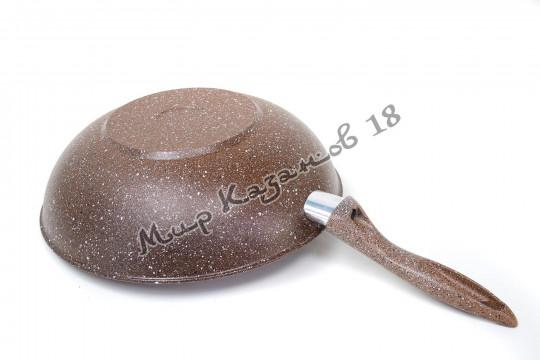 Сковорода-ВОК 28 см ГРАНИТ, цв. коричн., без крышки