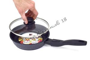 Сковорода глубокая 20 см ГРАНИТ МЕЧТА, стекл. кр., съемная ручка