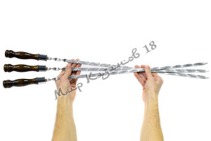 Шампур из нерж. стали 600 х 12 х 3 мм Ручка дерево с огнеуп. кольцом (тур. лак)