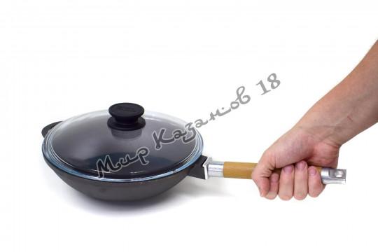 Сковорода WOK чугунная BIOL 26 см с деревянной ручкой