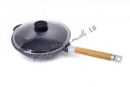 Сковорода WOK чугунная BIOL 24 см с деревянной ручкой