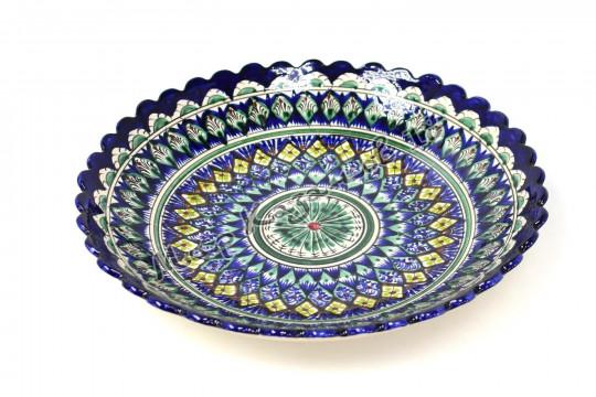 Ляган керамический Ромашка 33 см Синий